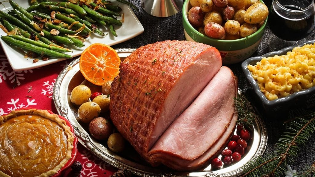 holiday ham and food spread